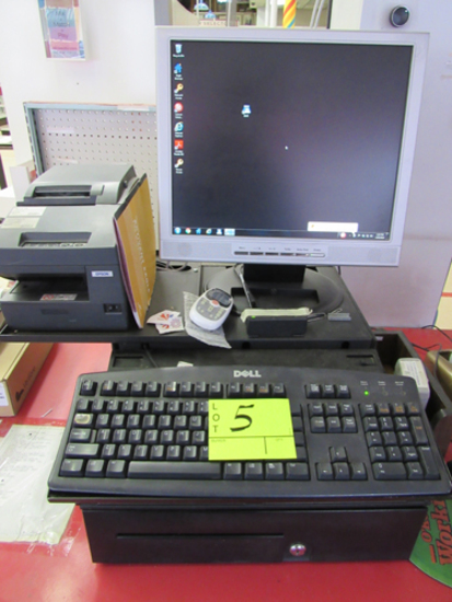 Cash register, scanner, Epson receipt printer, Verifone CC machine.