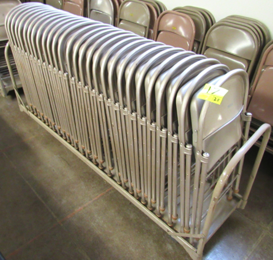 Lot of 28 metal folding chairs on cart