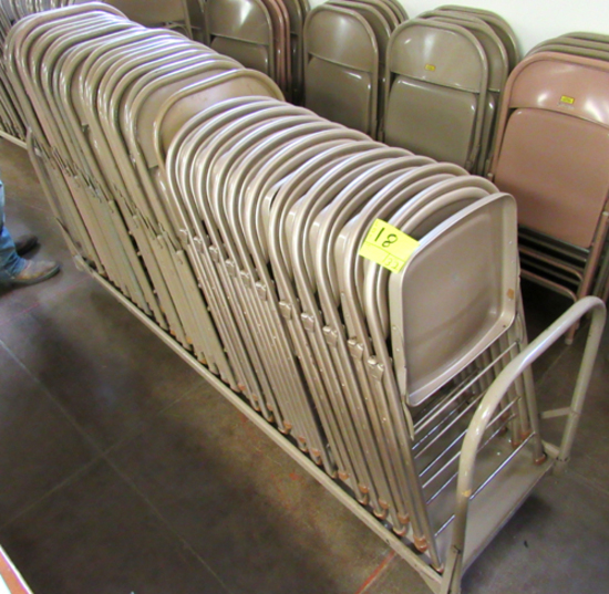 Lot of 32 metal folding chairs on cart