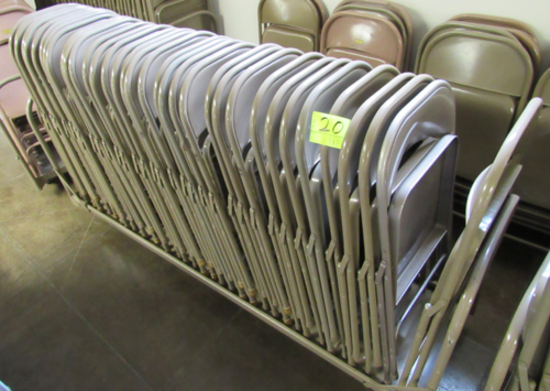 Lot of 35 metal folding chairs on cart