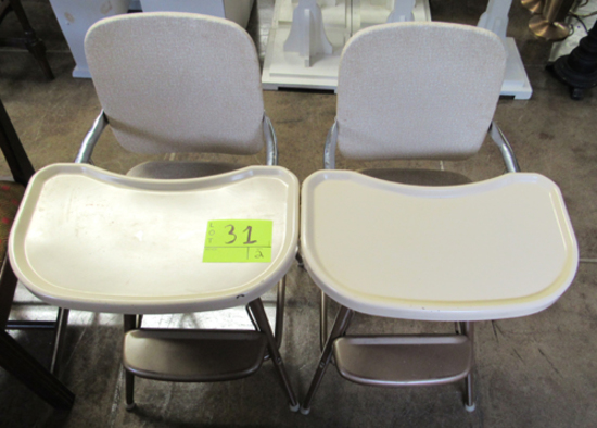 Lot of 2 metal high chairs