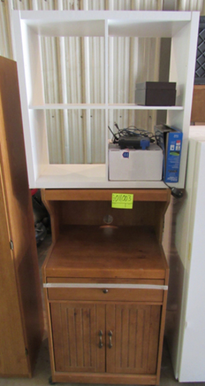 microwave cart, square shelf and router