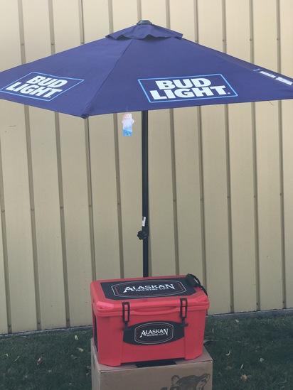 Bud Light Patio Umbrella and Alaskan Brewing Company Cooler