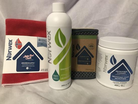 Norwex Enviro Cloth, Counter Cloth Set, Dishwashing Liquid, and Microfiber Cleaner