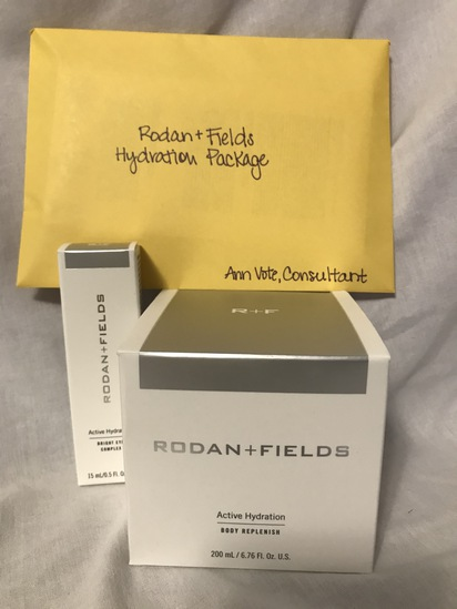 Rodan + Fields Active Bright Eye Complex, Active Hydration Body Replenish, and 3 samples