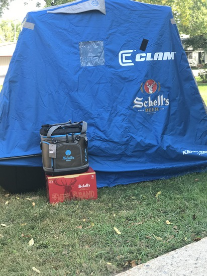 Schell's Portable Clam Fish House and Grizzly Schell's Drifter Soft Sided Cooler