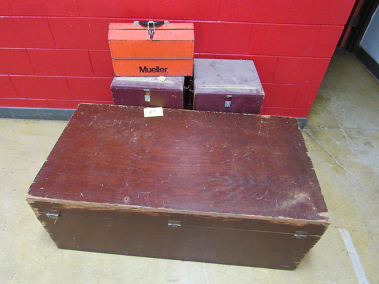 wooden chest and first aid boxes