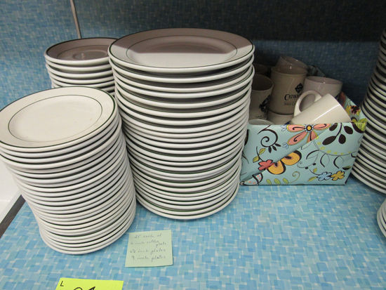 "6"" saucers, 6 1/2"" plates, 9"" plates, set of 25 each, and coffee cups"
