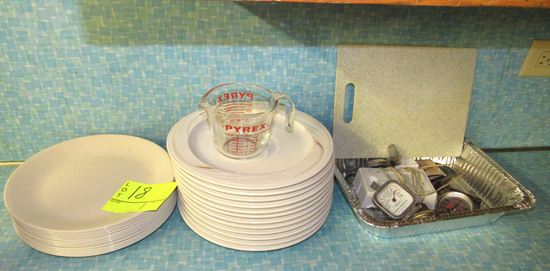 plates, thermometers and Pyrex measuring cup