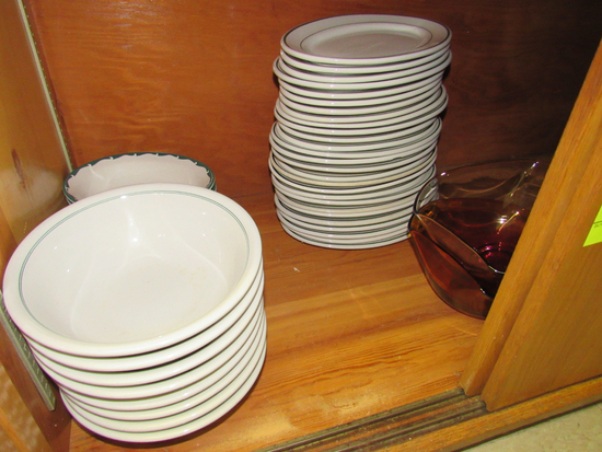 dishes in cabinet