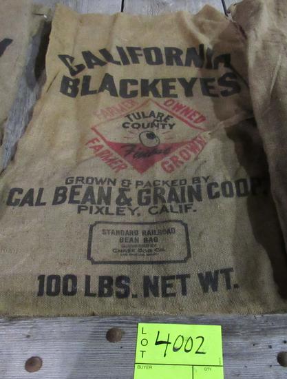 4 gunny sacks, CA Blackeyes, CA small white beans & MI Navy Beans