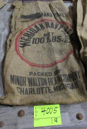 4 gunny sacks, CA Blackeyes, CA Baby Limas & MI Navy Beans