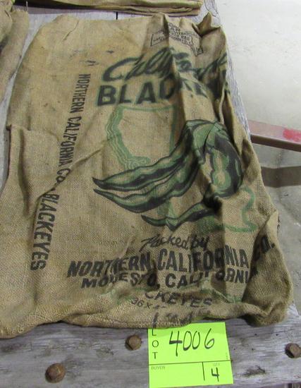 4 gunny sacks, CA Blackeyes, Genese Valley Red Kidney, CA small white beans & MI Navy Beans