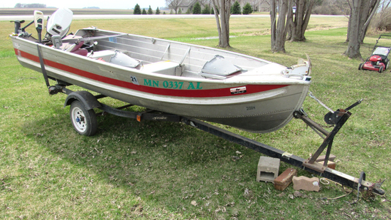 Aerocraft fishing boat with 20 HP Johnson O/B motor and trailer