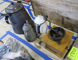 coffee grinder and 3 pots
