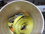 bucket of straps and rope