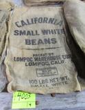 4 gunny sacks, MI Yellow Eye, CA small white beans & MI Navy Beans