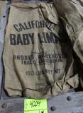 4 gunny sacks, MI Navy Beans, Bayport MI Navy, Idaho Pink, CA Baby Limas