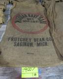 4 gunny sacks, CA small white beans, Bayport MI Navy & MI Navy Beans