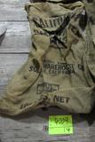 4 gunny sacks, CA small white beans Prince Edward Island Potatoes, MI #1 Yellow Eye
