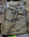 4 gunny sacks, CA small white beans, CA Blackeyes, CA Baby Limas, MI #1 Yellow Eye