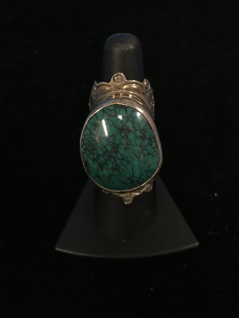 "Large Old Pawn Native American Sterling Silver & 1"" Turquoise Stone Ring - Size 8"