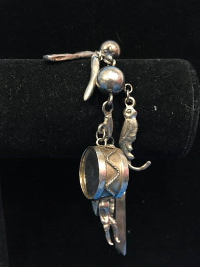 "YM Taxco Sterling Silver Loaded 8"" Charm Bracelet (Native Themed) - 55 Grams"