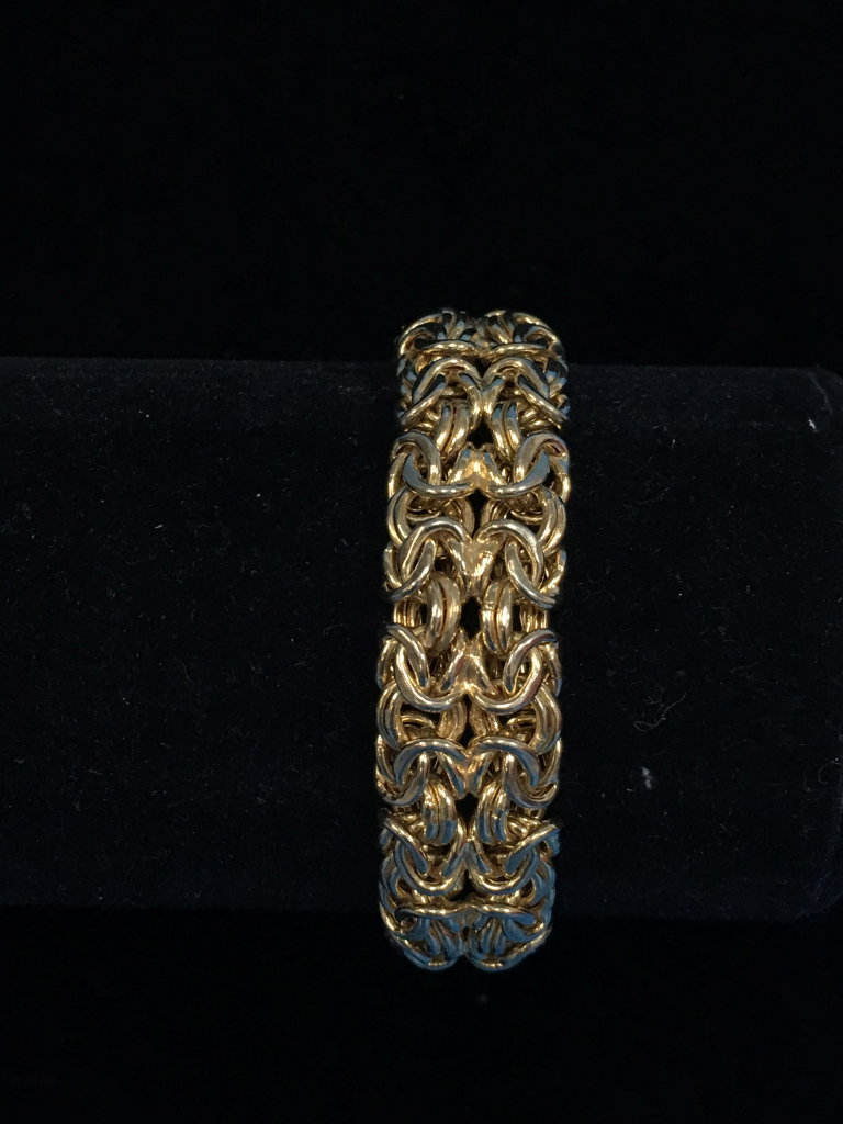 """Milor Italy Extra Thick Byzantine Style Woven 7"""" Chain Bracelet - 24 Grams"""