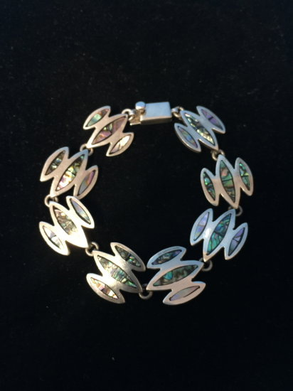 "Old Pawn Taxco Sterling Silver & Abalone Inlay Heavy Chain 8.5"" Bracelet - 38 Grams"