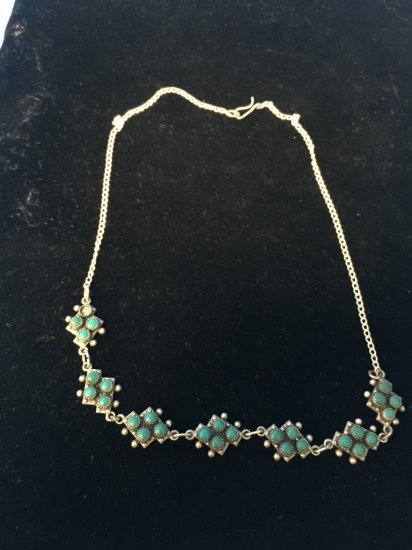 """Old Pawn Native American Zuni Beaded Turquoise Sterling Silver 16"""" Necklace"""