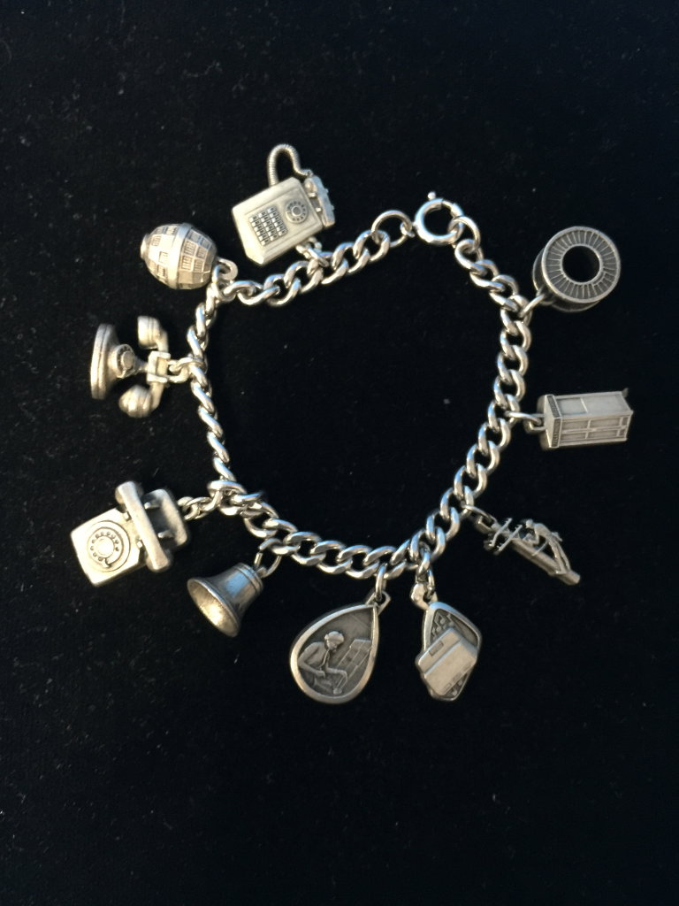 "7.5"" Heavy Sterling Silver Charm Bracelet W/ 10 Sterling Charms - 50 Grams"