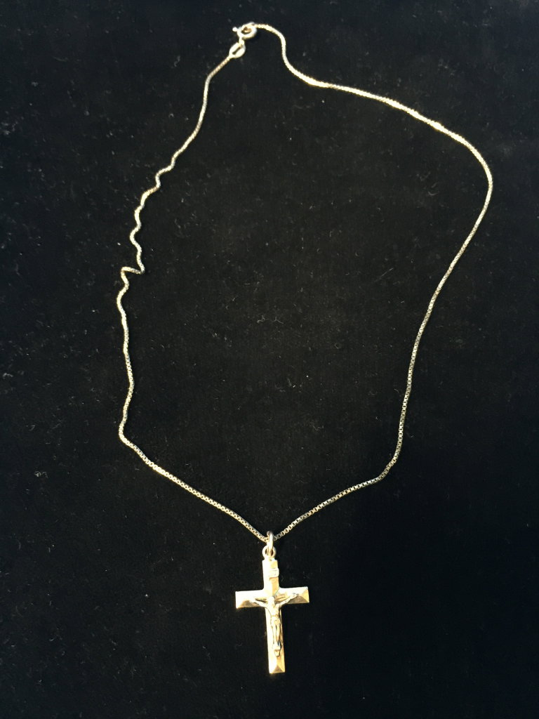"Jesus Sterling Silver Rosary Cross Pendant W/ 16"" Sterling Chain"