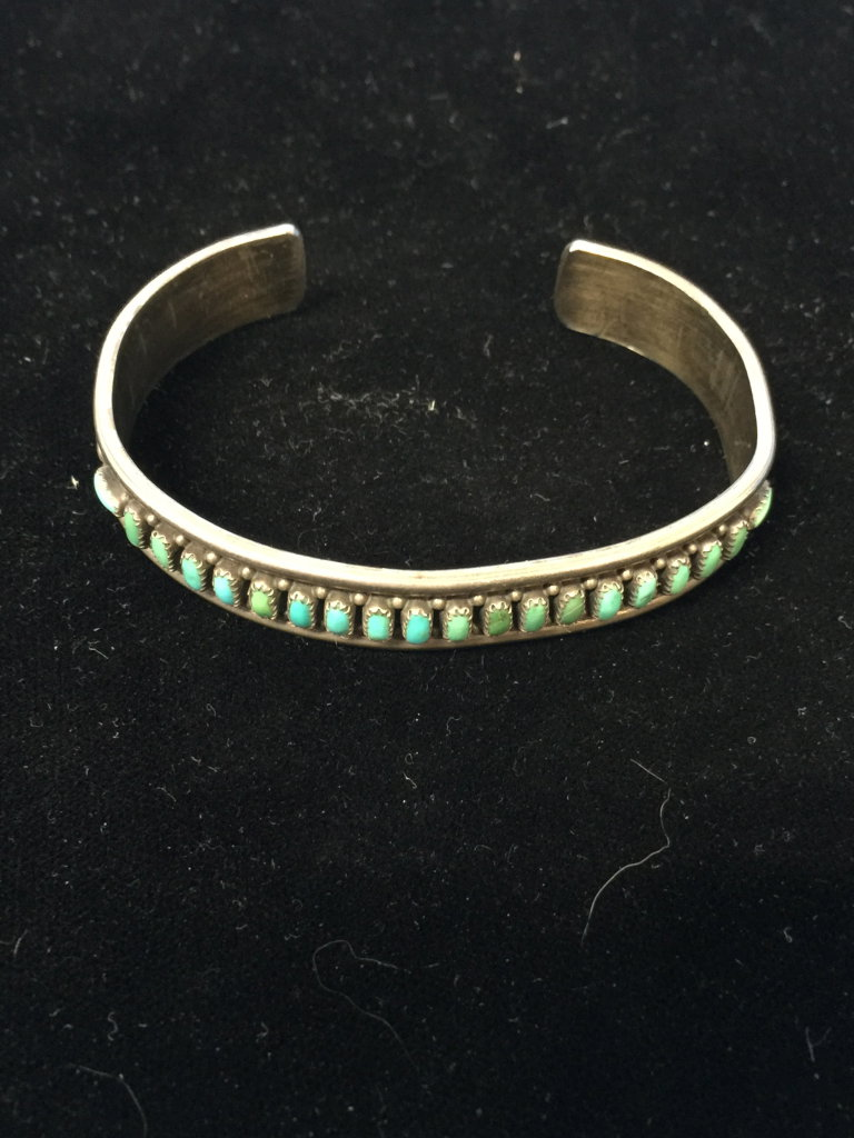 Old Pawn Native American Sterling Silver & Turquoise Thick Cuff Bracelet