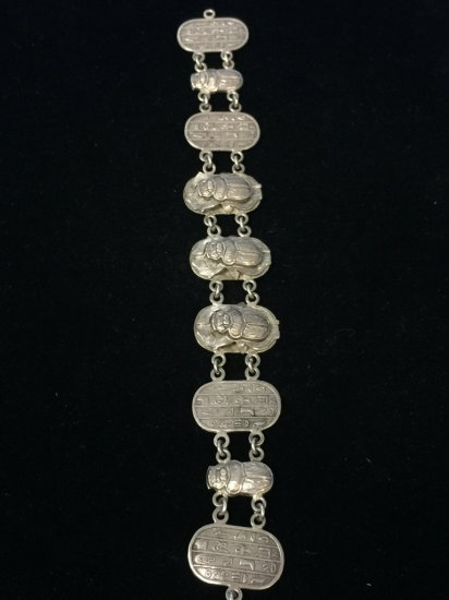 "RARE Egyptian Sterling Silver Locus & Writings 7.5"" Chain Bracelet"