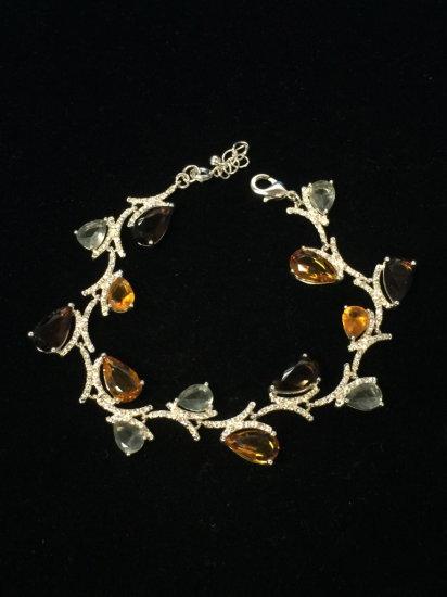 "Topaz & Garnet 7.5"" Sterling Silver Chain Bracelet"