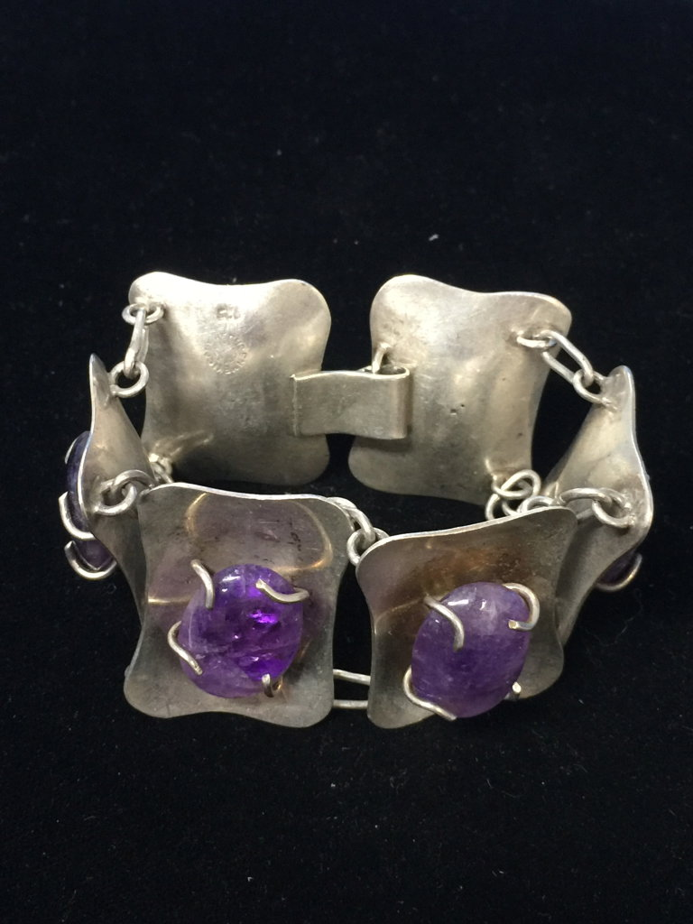 "Heavy 7""X1.25"" Sterling Silver & Cabachon Amethyst Link Bracelet - 66 Grams"