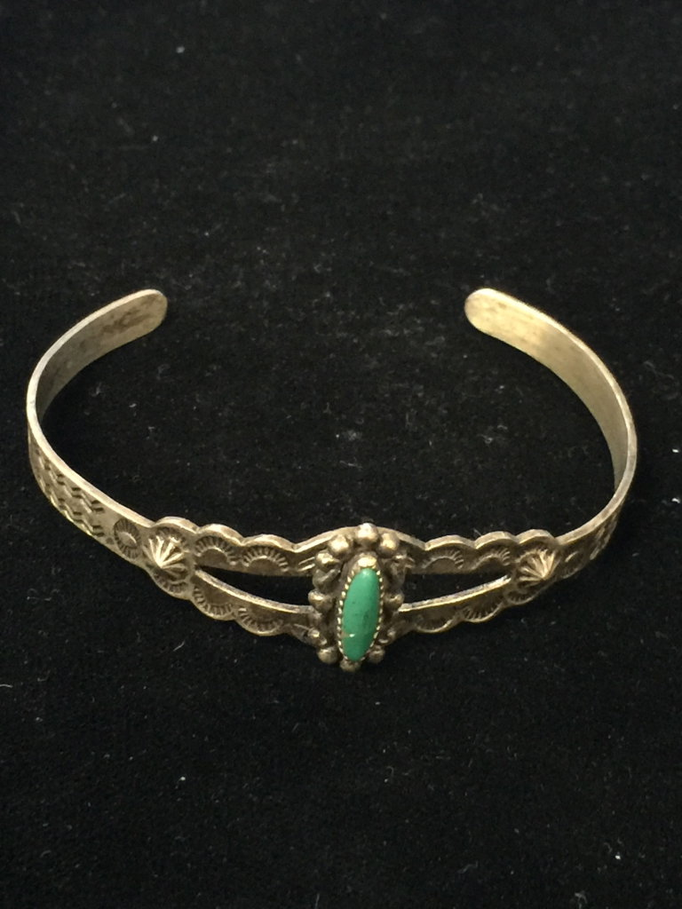 Old Pawn Native American Sterling Silver & Green Turquoise Cuff Bracelet