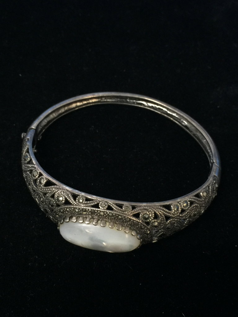 Beautiful Sterling Silver Bangle Cuff Bracelet W/ MOP & Marcasite - 21 Grams