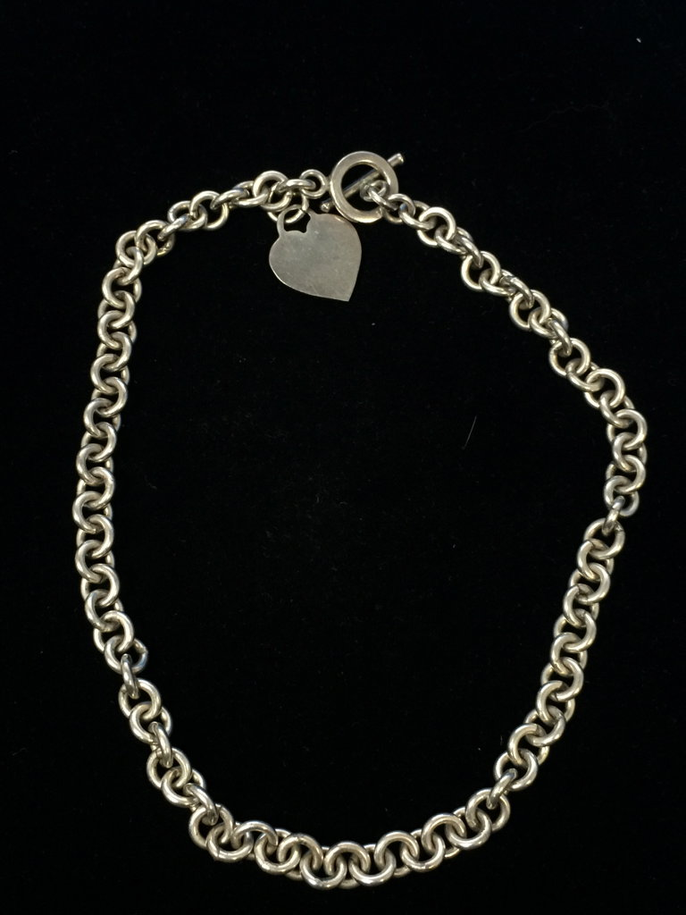 """Heavy 16"""" Sterling Silver Heart Toggle Chain Necklace - 60 Grams"""