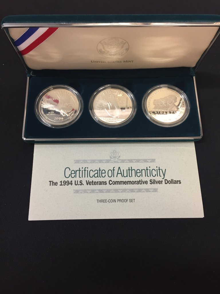 United States Mint Veterans Silver Dollars (3) Proof Set - 90% Silver Coins