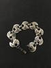 "Wide 7"" Sterling Silver Link Bracelet w/ Organic Motif Design - 21 grams"