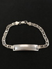 "Italian Made 9"" Double Cable Link Sterling Silver ID Tag Bracelet"
