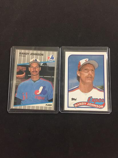 2 Card Lot Of 1989 Randy Johnson Mariners Rookie Cards Art