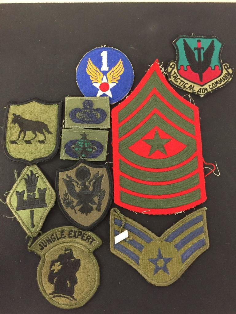 Lot: Huge Lot of Rare Vintage Military Patches, Armboards, Pins