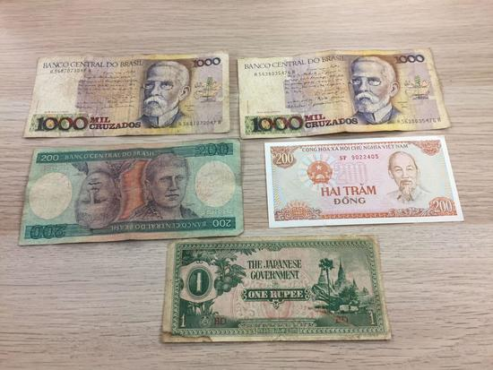 5 Count Lot of Foreign Currency Bill Notes - Unresearched