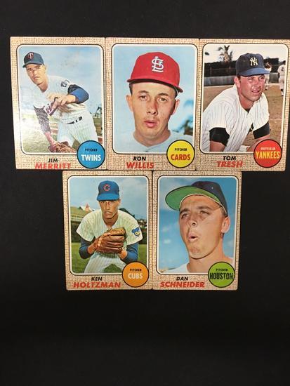 5 Card Lot Of 1968 Topps Baseball Vintage Baseball Cards