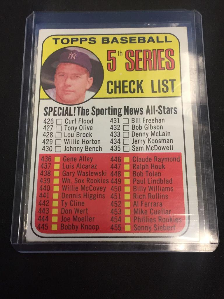 1969 Topps 412 5th Series Checklist Mickey Mantle Vintage