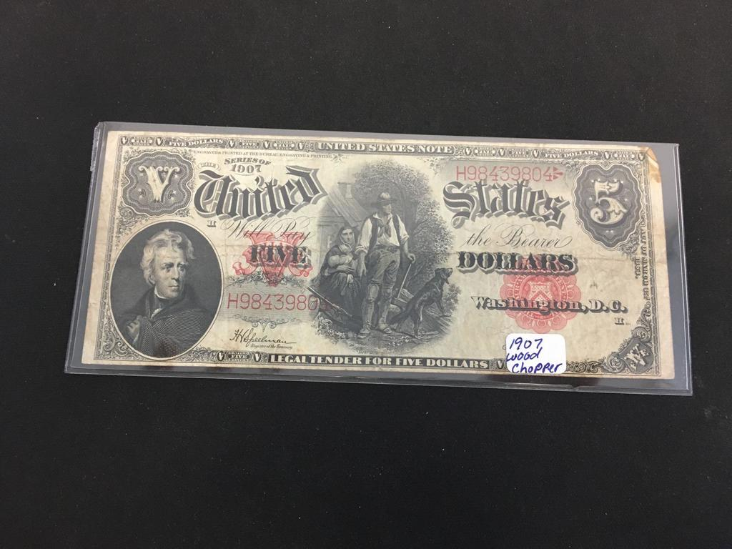 1907 United States $5 Wood Chopper Bill Currency Note