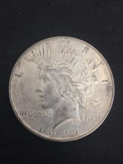 1922 United States Silver Peace Dollar - 90% Silver Coin