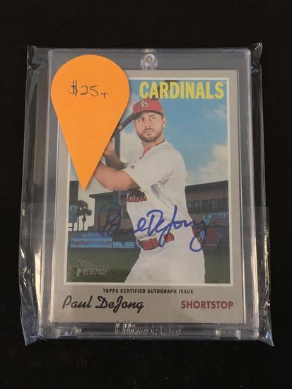 2019 Topps Heritage Paul Dejong Cardinals Autograph Baseball